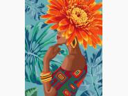картина по номерам Девушка - тропический цветок