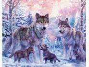 Новинки алмазной вышивки Семья волков с волчатами