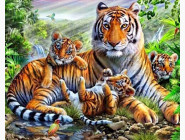 Новинки алмазной вышивки Тигрица с тигрятами