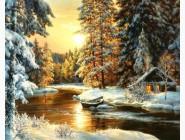 Новинки алмазной вышивки Дом в снегу