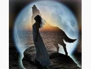 Новинки алмазной вышивки Девушка и волк при луне