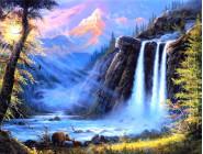 Алмазная вышивка  My Art Животные у водопада (TN486, На подрамнике)