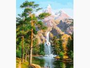Новинки алмазной вышивки Величественные горы и водопад
