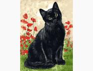 Коты и собаки Зеленоглазая кошка в цветах