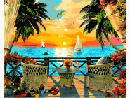 Море, морской пейзаж, корабли Отдых на закате. Доминик Дэвисон
