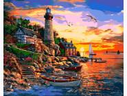 Море, морской пейзаж, корабли Маяк на закате. Доминик Дэвисон