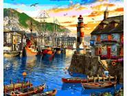 Море, морской пейзаж, корабли Восход солнца в порту. Доминик Дэвисон
