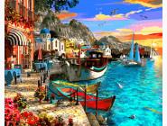 Море, морской пейзаж, корабли Город на берегу моря. Доминик Дэвисон