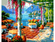 Море, морской пейзаж, корабли Кафе на берегу