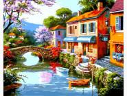 Городской пейзаж Дома вдоль реки