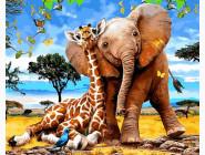 Животные и рыбки Слоненок и жираф