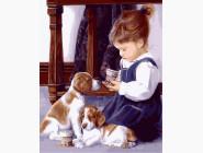 Ангелы и дети Девочка с щенятами