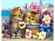 Коты и собаки Котята в цветах