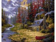 Пейзаж и природа Домик у реки