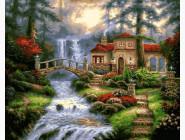 Пейзаж и природа Мост у водопада