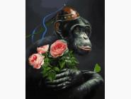 Животные и рыбки Обезьяна с розами