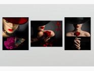 Триптихи по номерам и полиптихи Триптих комбинированный Девушки с цветами (2 картины вертикальные и 1 горизонтальная)