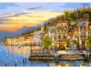 BK-G295 Картина раскраска без коробки Озеро Комо. Италия