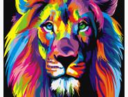 картина по номерам без коробки Радужный лев