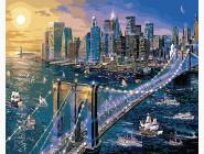 картина по номерам Нью-Йорк. Бруклинский мост
