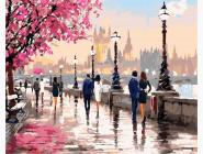 Городской пейзаж Цветущая набережная