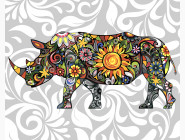 BK-GX21210 Рисование по номерам Цветочный носорог (Без коробки)
