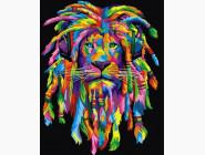 Радужный лев с дредами (вертикальная)