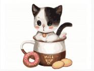 Белый котик в кофейной чашке