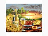 Натюрморт с вином и персиками