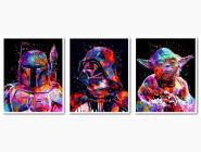 Триптих Звездные войны Боба Фетт Дарт Вейдер Йода