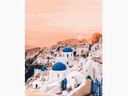 Розовый закат Санторини
