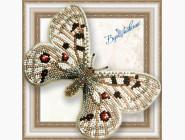 Бабочка из бисера на пластиковой основе Аполлон обыкновенный