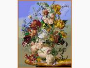 Желтые тюльпаны и пионы (в раме)