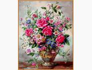 Букет роз и полевых цветов (в раме)