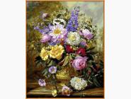 Букет белых и желтых роз (в раме)