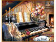 Музыкальный вечер у камина (в раме)