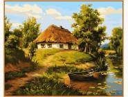 Домик возле пруда (в раме)