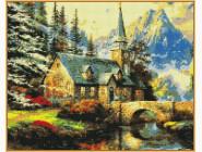Алмазная живопись Babylon Альпийский пейзаж Часовня (ST497, На подрамнике)