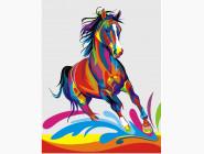 PGEX5331 Картина раскраска Радужный конь Brushme Premium