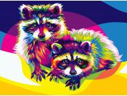 PGEX5387 Картина раскраска Радужные еноты Brushme Premium