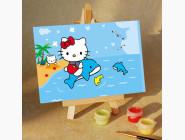 MA070 Картина по номерам Hello Kitti на дельфине