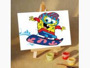 MA127 Картина по номерам Спанч Боб на Сноуборде