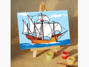 MA132 Картина раскраска по номерам Парусник