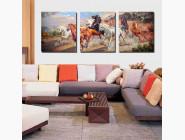 DZ211 Картина по номерам Триптих. Дикие лошади Babylon