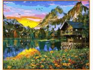 Деревня у горного озера