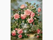 картина по номерам Розы в серебряной вазе
