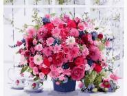 картина по номерам Розовые хризантемы
