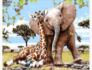 картина по номерам Слоненок и жираф
