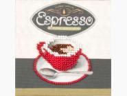 Картины для кухни  Магнит вышитый бисером Волшебная страна Красная чашка кофе (FLA059)