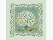Цветы и натюрморты Вышивка бисером Идейка Белая герань (ВБ1017)